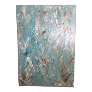 Vintage Abstract Turquoise Painting