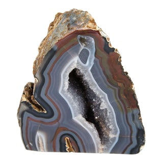 Organic Agate Stone Sculpture with Crystalline Center