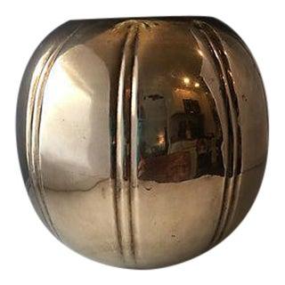 Round Striped Brass Vase