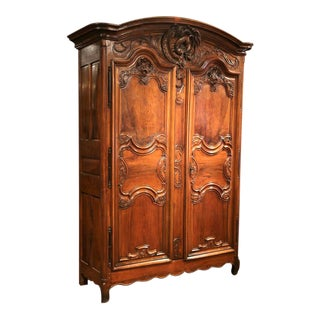 18th Century French Louis XV Carved Walnut Armoire from Lyon