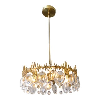 Gilt Brass & Crystal Brutalist Ceiling Fixture by Palwa