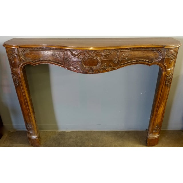 19th Century Hand Carved Walnut Fire Mantel - Image 4 of 10