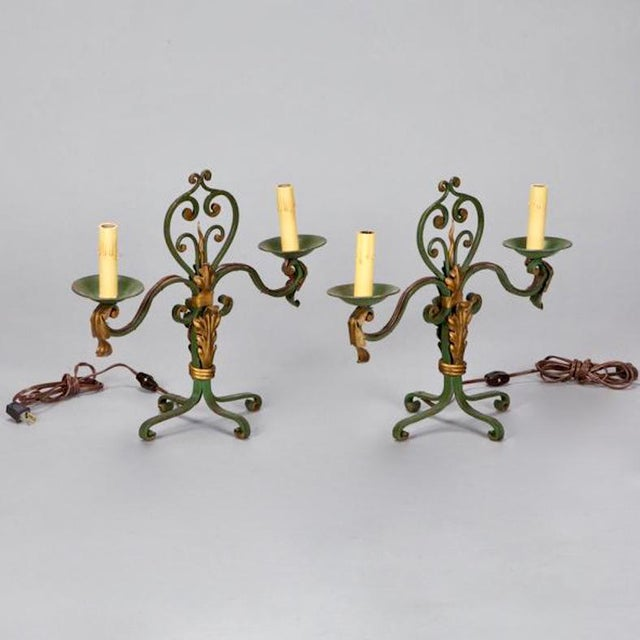 Pair French Two Light Green and Gilt Metal Candelabra Table Lamps - Image 2 of 4