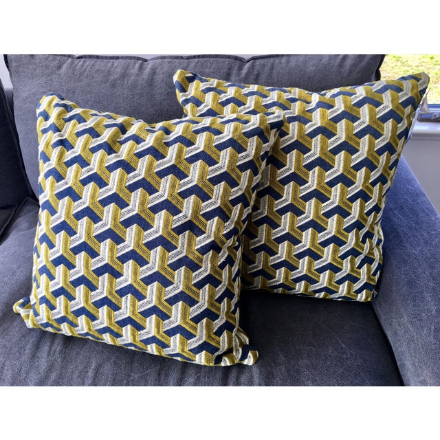 Kravet Embroidered Denim Pillows - A Pair - Image 2 of 5