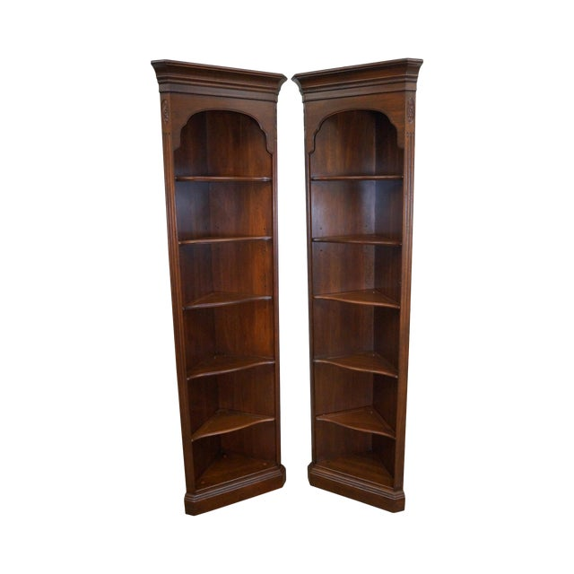 Ethan Allen Georgian Court Solid Cherry Narrow Corner Cabinets - a Pair - Image 1 of 10