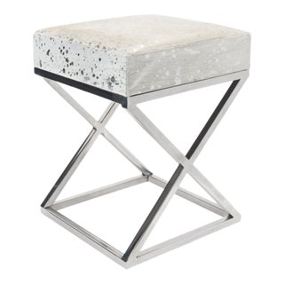 Pasargad Steel & Cowhide Leather Bench