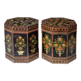 Pair Anglo Indian Papier Mache Low End Tables