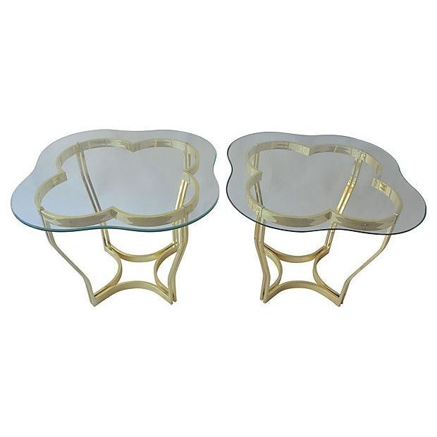 Brass Clover Side Tables - Pair - Image 2 of 3