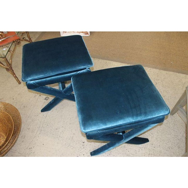 Image of Upholstered Blue Velvet X-Bench