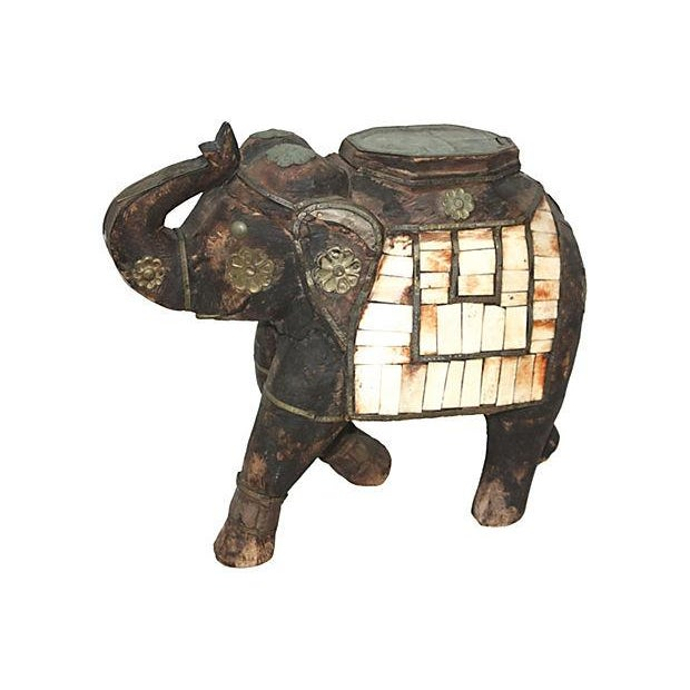Image of Carved Elephant W/Bone Inlay Sculpture