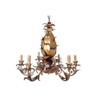 Italian Gilt Pineapple Chandelier