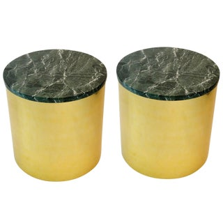 Pair of Paul Mayen Cylindric Brass and Green Marble End Tables