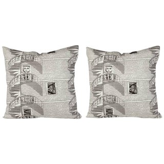 1950s Piero Fornasetti Scala a Chiocciola DI Notte Pillows- A Pair