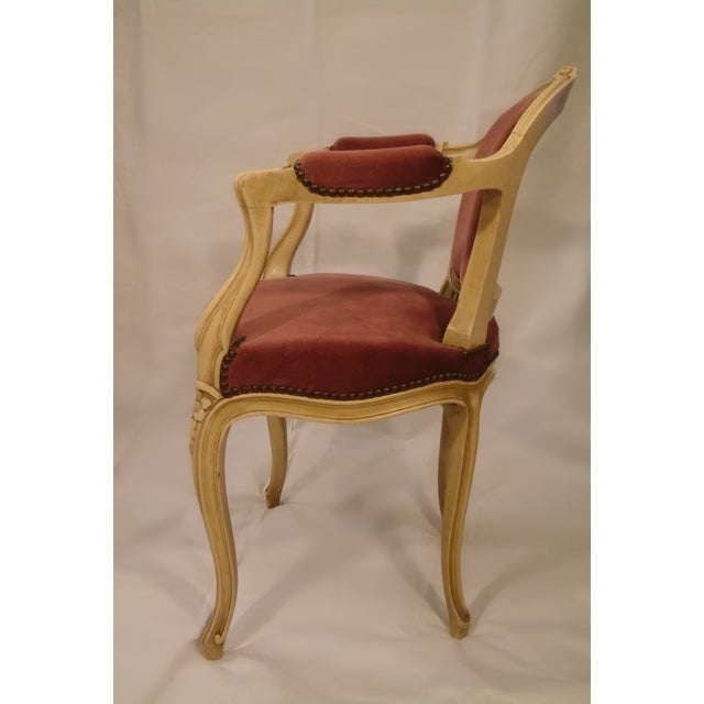 Antique Ivory Louis XV Style Low Back Fauteuil - Image 3 of 7