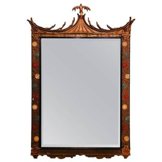 Decorative Painted and Gilt Wall or Console Mirror