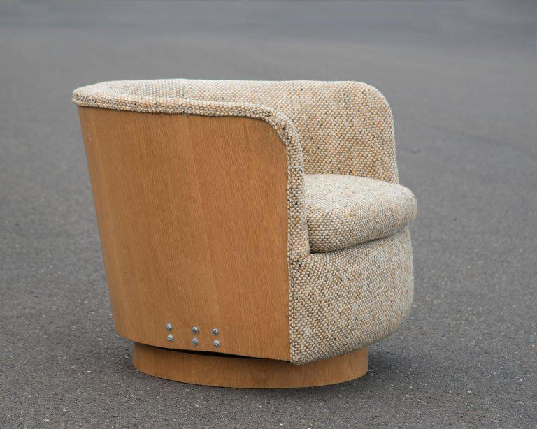 Super Cool Mid Century Modern Swivel Tub Chair With Oak Surround   Image 3  Of
