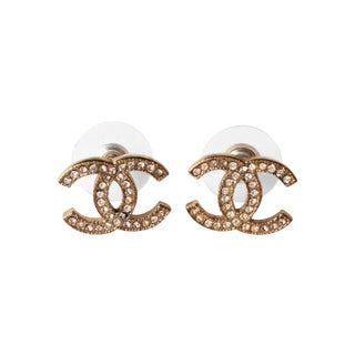 Chanel Classic Light Gold CC Rhinestone Earrings