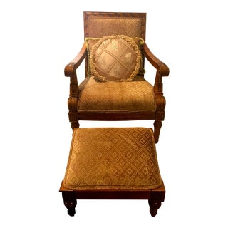 Solid Oak Chair With Ottoman