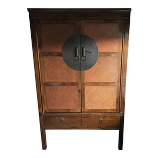 Campaign Style Rattan Two Door Armoire