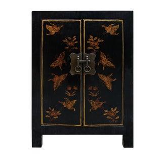 Black Lacquer Golden Butterflies End Table