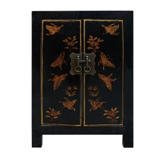 Black Lacquer Golden Butterflies End Table
