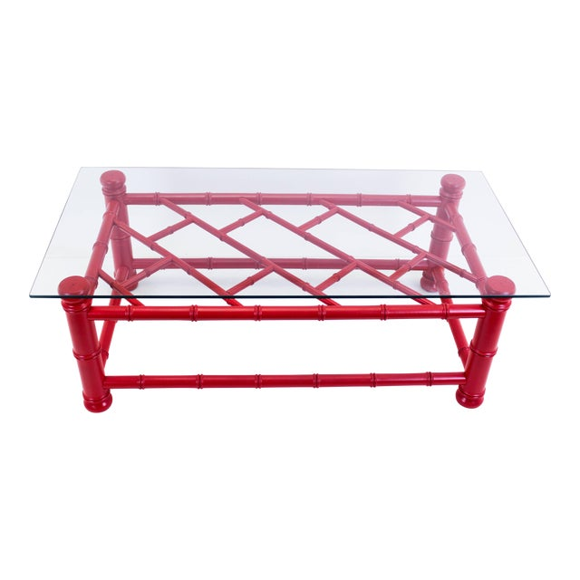 Palm Beach Style Coral Red Coffee Table - Image 1 of 9