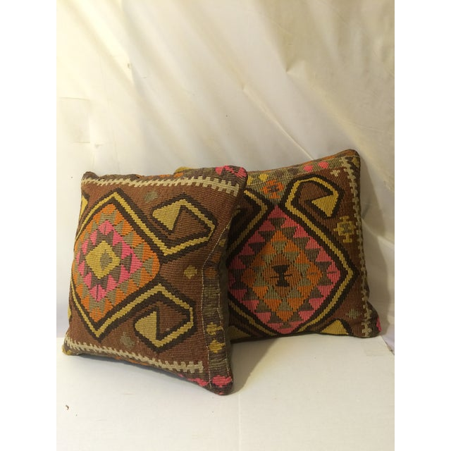 Antique Turkish Kilim Pillows - Pair - Image 2 of 8