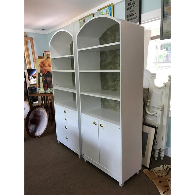 Mid-Century Modern Satin White and Zinc Cabinets - A Pair - Image 4 of 9