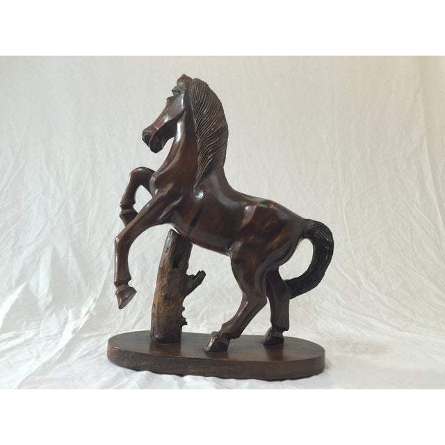 Carved Wooden Horse on Wood Stand - Image 10 of 10