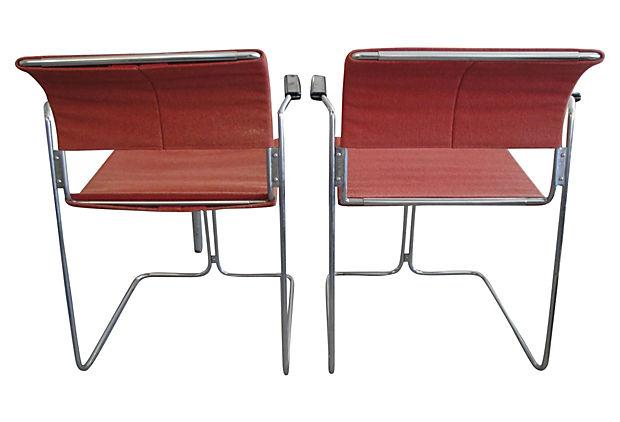 Harter Mid Century Modern Red Chairs   A Pair   Image 4 Of 5