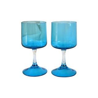 Vintage Blue Cocktail Stems - A Pair