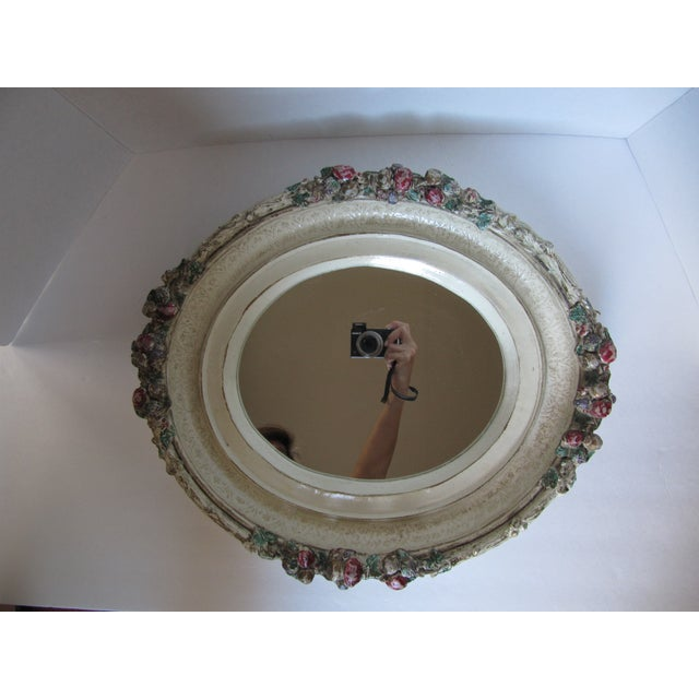 Oval Distressed Flower Mirror - Image 3 of 8