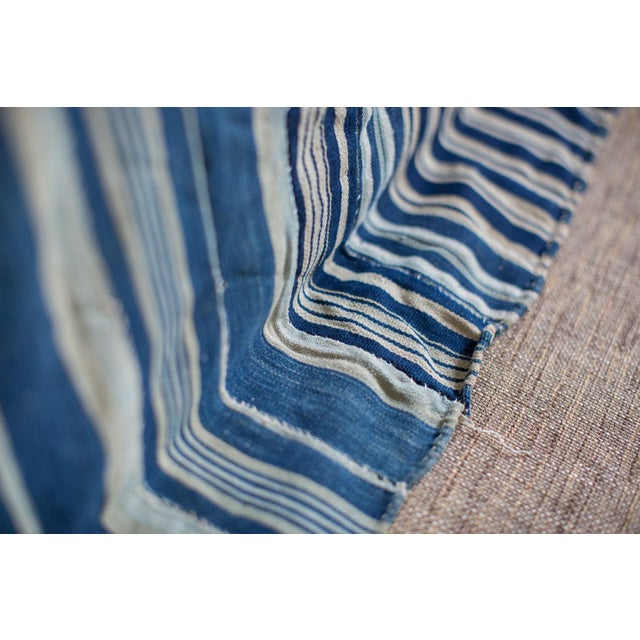 Image of Vintage Hand Woven Indigo Stripe Throw