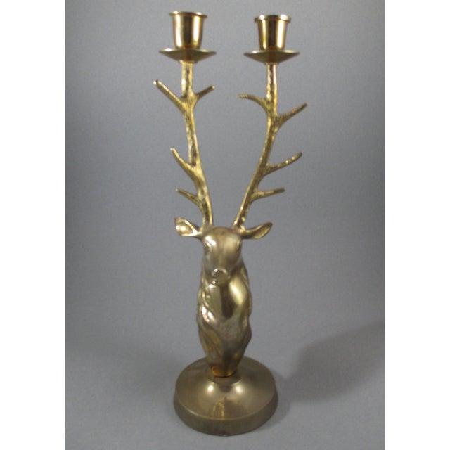 Image of Brass Stag Deer Head Candleholder
