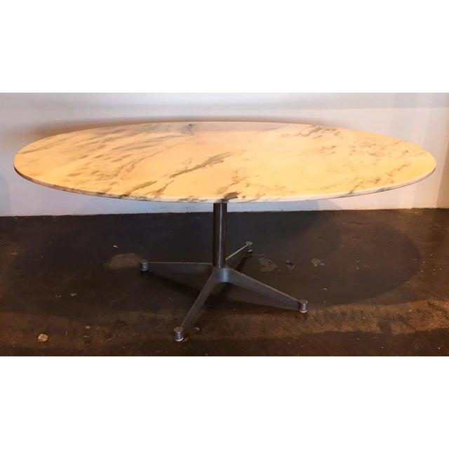 Image of Saarinen Style Vintage Oval Marble Dining Table