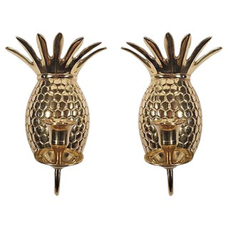 Pineapple Form Brass Sconces- A Pair