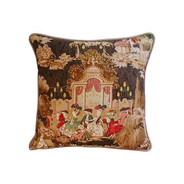 Designer French Versailles Toile Pillows - Pair - Image 3 of 7