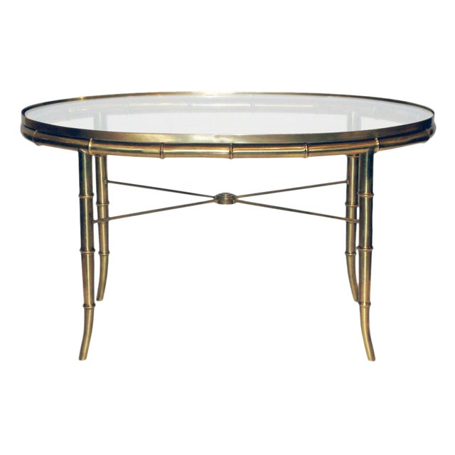 Brass Faux Bamboo Coffee Table: William Doezema Faux Bamboo Brass & Glass Coffee Table