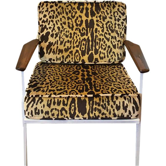 Scalamandre Leopard Upholstered Mid-Century Chair - Image 1 of 2
