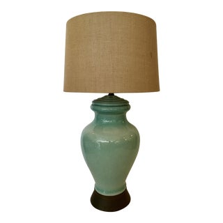 Vintage Turquoise Crackle Style Ceramic Lamp