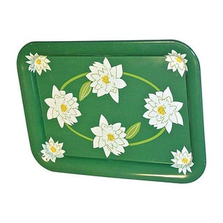 1960s Green Tray With Magnolias