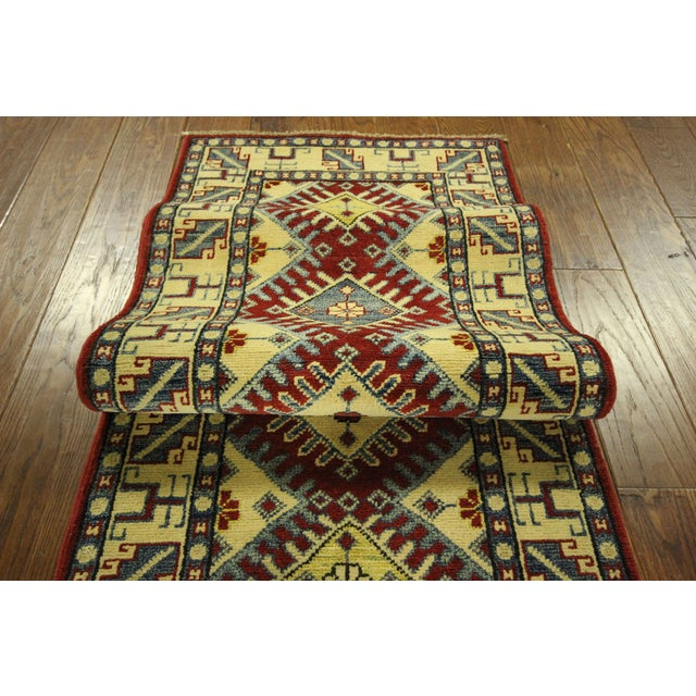 "Image of Red & Tan Super Kazak Runner Rug - 2'1"" x 11'6"""