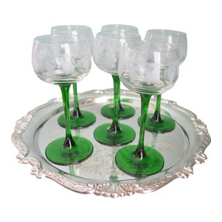 French Etched Stemmed Glasses & Drinks Tray - Set of 7