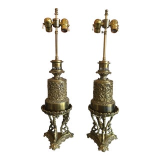 Vintage Brass Table Lamps - A Pair