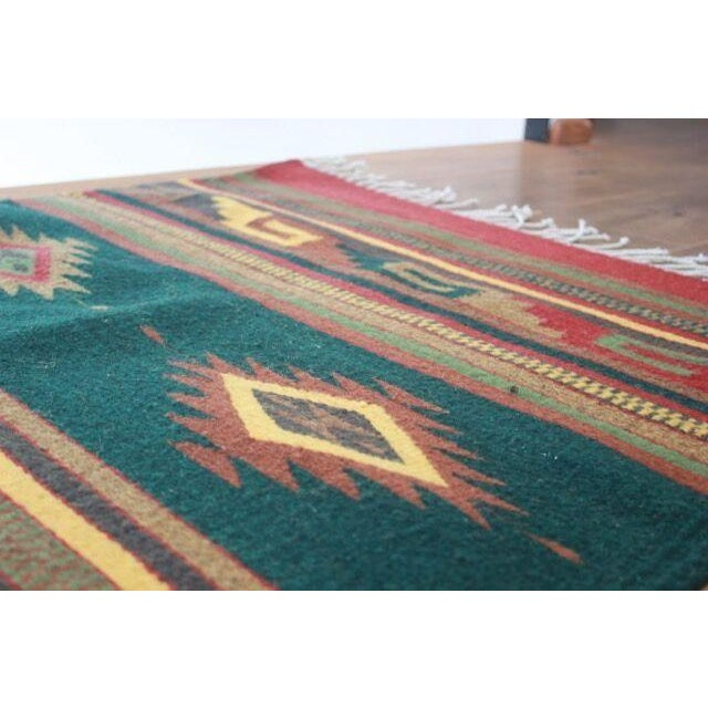 Mexican Pedal-Loom Green Rug - 2′7″ × 4′10″ - Image 4 of 6