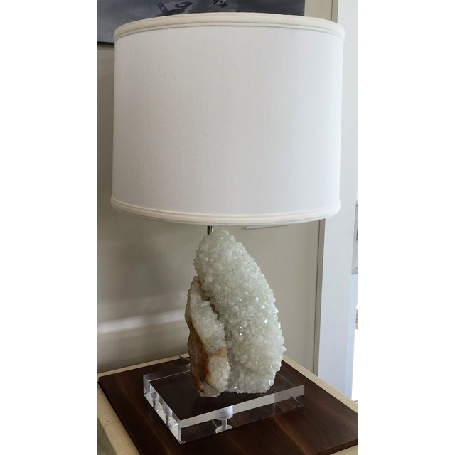 Quartz Table Lamp With Lucite Base - Image 3 of 5