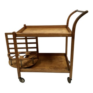 Mid-Century Wood Bar Cart With Rotating Bottle Holder