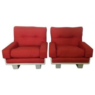 Vintage Italian Coral & Fiberglass Chairs - A Pair