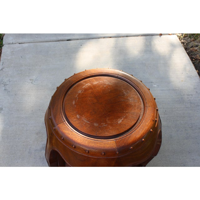 Vintage Asian Rosewood Drum Stools - A Pair - Image 9 of 11