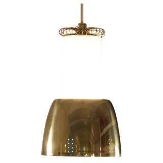 Paavo Tynell brass and opaline glass pendant lamp. Idman, Finland, 1950s